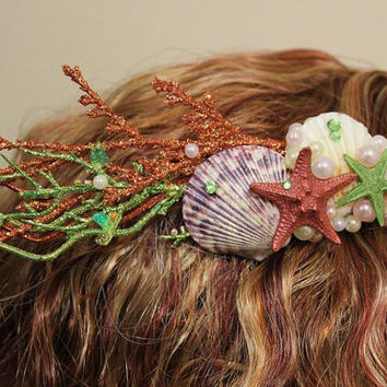 Hand Painted Bronze and Green Seashell Hair Comb Clip Accessory