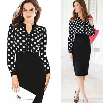 Elegant Party Vintage Polka Dot Print S-XXL Dresses