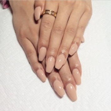 Coffin shape nails, false nails, white nails, pink nails, nude nails, press on nails