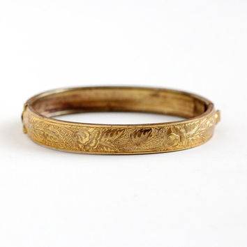 Antique Art Nouveau Yellow Gold Washed Petite Flower Bracelet -  1910s Edwardian Small Hinged Floral Leaf Vine Bangle Jewelry
