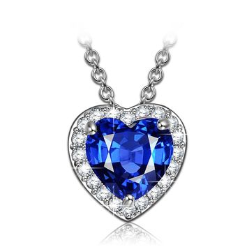 """""""Love in Paris"""" Pendant Necklace Made with Sapphire Heart Corundum, anniversary gifts for her birthday gifts for women gifts for girlfriend wife daughter"""