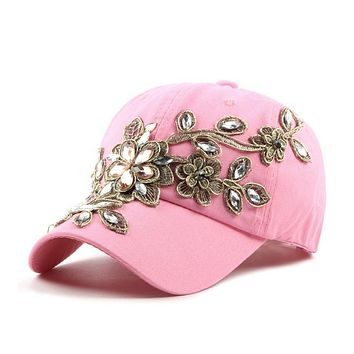 High quality Full Crystal Colorful gold plum blossom cotton baseball cap Bling diamond hip hop Adjustable Snapback Hat for women