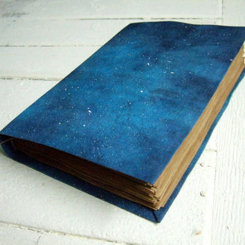 GALAXY - LARGE handmade journal, notebook, old pages, 260 pages