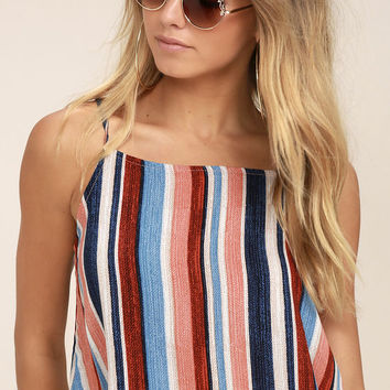 Beyond the Sea Peach Striped Crop Top