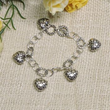 White Gold Plated Vintage Antique Style Heart Love Charm Chain Bracelet 8 Inch