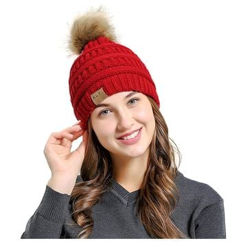 Soft Cable Knit Beanie Skully Warm Stretchy Hats With Faux Fur Pompom