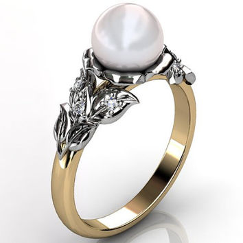 14k two tone yellow and white gold South Sea pearl diamond unusual unique floral engagement ring, bridal ring, wedding ring ER-1067-7