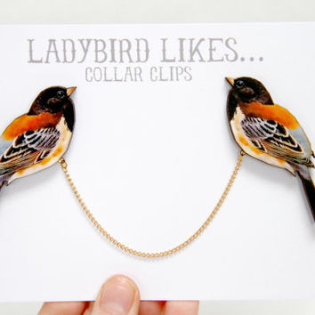 Bird Wooden Collar Clips by ladybirdlikes on Etsy