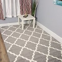 Gray & Ivory Morrocan Trellis Rug 3-Feet 3-Inch by 5-Feet Small Area Rug Mat