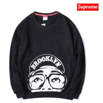 Tide brand Supreme Couple cotton plus cashmere round collar sweater camouflage men and women fall and winter pullovers Brooklyn