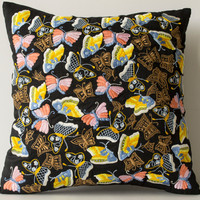 Butterfly Garden Hand Crafted on Black Silk To Create A Designer Pillow Case