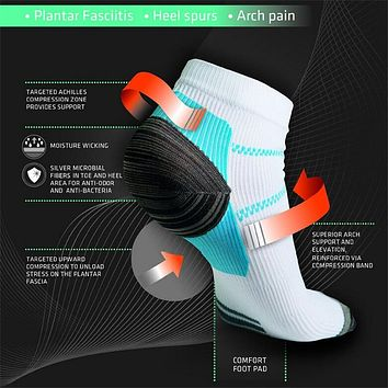 Unisex Veins Socks for Protecting Feet Varicose Socks Compression Socks with The Spurs for Plantar Fasciitis Arch Pain men women