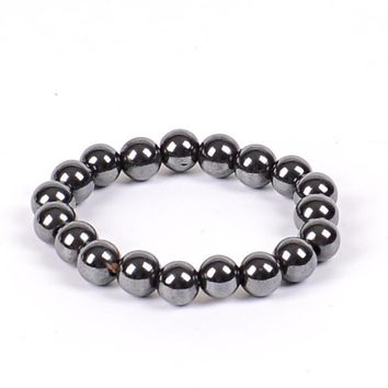 Women Black 6/8/10 Cool Magnetic Bracelet Beads Hematite Stone Therapy Health Care Magnet Hematite Beads Bracelet Men's Jewelry