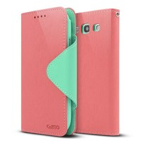 Exclusive Cellto Italian Samsung Galaxy S3 Case Synthetic Leather Diary Flip Case w/ ID Slots & Bill Fold - Baby Pink