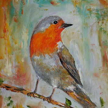 Bird Art Robin Impression Palette Knife Original Oil Painting Impasto Europe Artist Rotkehlchen LINEN stretched canvas Kids art room decor