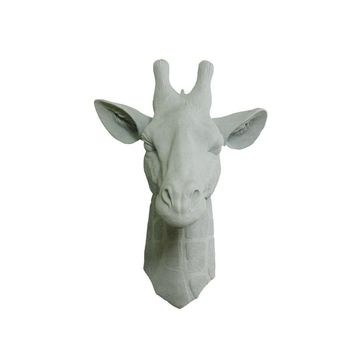 The Zimbabwe | Large Giraffe Head | Faux Taxidermy | Gray Resin