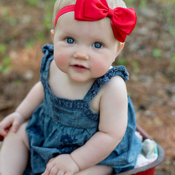 Red Bow Headband Headband. Big Red Satin Bow Headband. Baby Headband. Baby Hair Accessories. Girls Hair Accessories. Red Baby Bow Headband