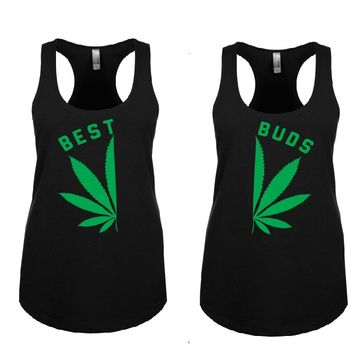 BEST BUDS Woman's Tank Tops + Your NAMES on the back or another text