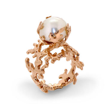CORAL PEARL Rose Gold Ring, 18K Gold Plated Pearl Ring, Statement Ring, Large Pearl Ring