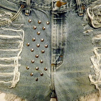 Sale Frayed Studded Cut Offs Vintage High Waisted Blue by twazzy