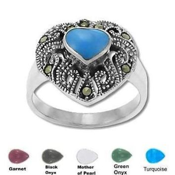 Sterling Silver Genuine 7 Marcasite Heart With Stone Ring
