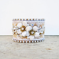Bridal cuff bracelet - white, cream, and gold