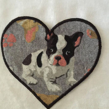 french bulldog patch dog patch cute dog heart patch