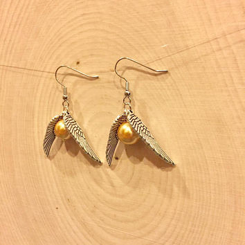 Golden Snitch Earrings - Quidditch Jewelry -Golden Snitch Necklace - Gift Set