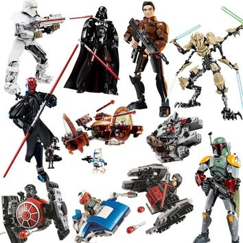 Star Wars Force Episode 1 2 3 4 5 2018 New  Darth Maul Han Solo Boba Fett Storm Trooper Building Blocks Figure Toys For Children with Legoinglys  AT_72_6