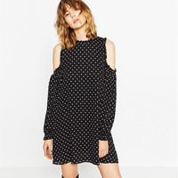 Black Polka Dots Print Cold Shoulder Shift Dress