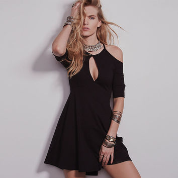 Black Halter Cutout Detail Skater Dress