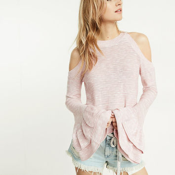 ruffle bell sleeve abbreviated cold shoulder sweater