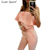 Simplee Apparel Off shoulder long elegant jumpsuit romper Casual summer playsuit women Chic ruffles one piece overalls leotard