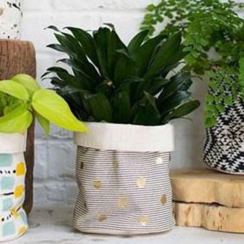 "Gold Dotted and Striped Painted Cotton Canvas Flower Pot Cover - 6.25"" Tall x 5.75"" Diameter"