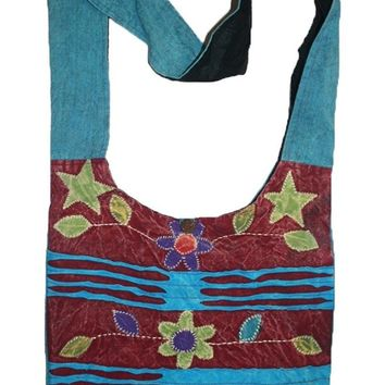 P- 21 1AB Patchwork Rope Cotton Knitted Tie Dye Shoulder Bohemian Bag Purse