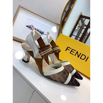 Forever Fendi Retro Stitching Sandals Heel height 5.5-2