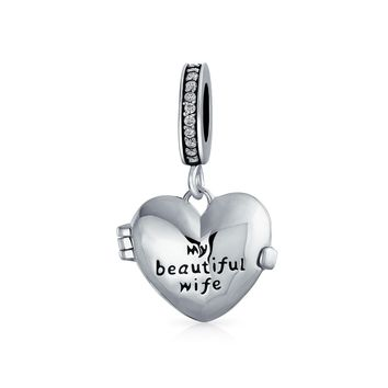 My Beautiful Wife Words Heart Locket Charm Bead 925 Sterling Silver