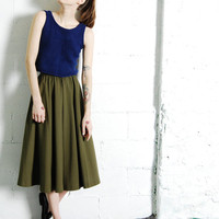Vintage 70s 80s OLIVE GREEN Long Midi Skirt XS