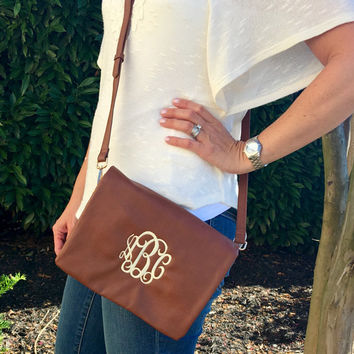 Cross Body BROWN Clutch Purse  Monogram Font Shown INTERLOCKING in Ivory