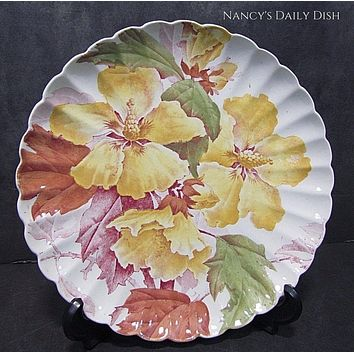 Antique 19C Aesthetic Movement Red Transferware Hibiscus Plate by Brown Westhead & Moore
