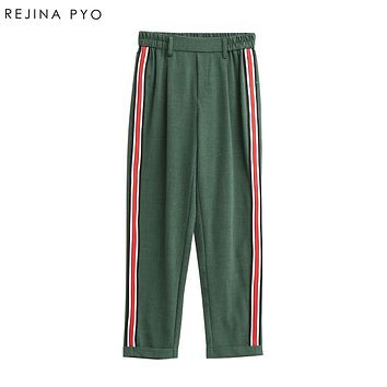 REJINAPYO Women Elegant Side Stripe Pants Elastic Waist Ladies Autumn Casual Active Wear Fashion Ankle-length Trousers Mujer