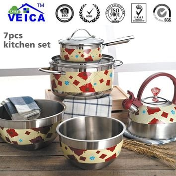 5Pcs/Set Cookware Casserole Jogo Panelas Time-limited Promotion Cooking Pots And Pans Set Stainless Steel Pan Sets