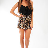 Wild In Your Smile Romper: Black/Cheetah