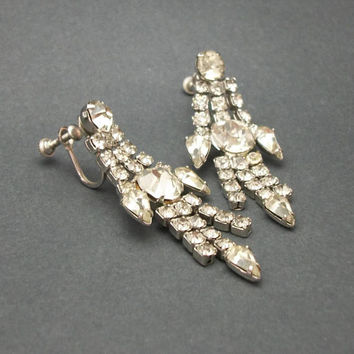 Vintage Chandelier Clear Rhinestone Screw Back Clip On Earrings - Art Deco Screwback Clear Crystal Drop Earrings - Wedding Bride Jewelry