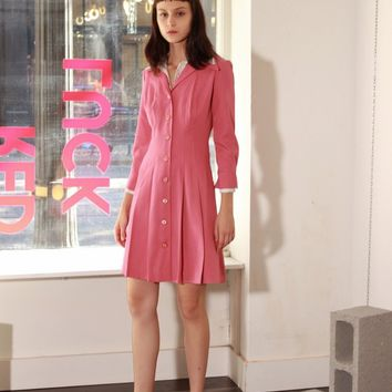 70s Pink Pleated Double Collar Dress / S