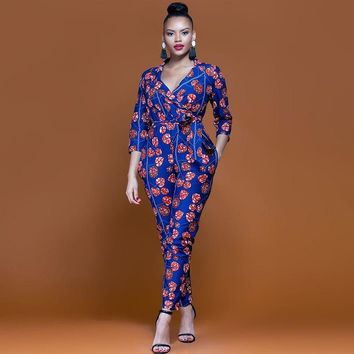 New Summer Womens Slim Rompers Jumpsuit Women African Print Clothing Casual Sexy Fashion Party Small Leg pants milk silk
