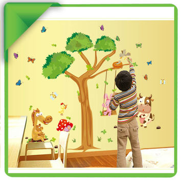 Oversize Cartoon Animal Monkey on Tree Wall Decal Baby Stickers for Kids Room Home Decor SM6