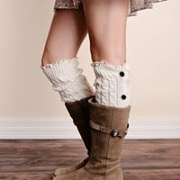 Cable Knit Button Down Boot Socks Ivory Leg Warmers