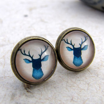 Blue Stag Post Earrings  Blue and White Deer by AshleySpatula
