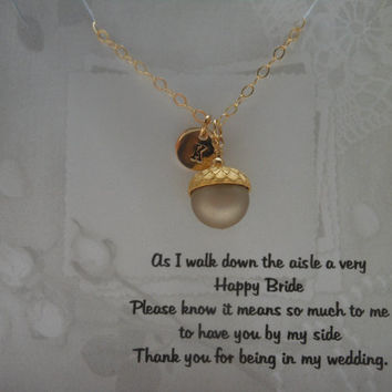 Fall Wedding, Bridesmaid Gift, Set of 4 Necklaces, Personalized Gift, Acorn Necklace, Gold Necklace, Gold Initial, Pearl Bridal Jewelry